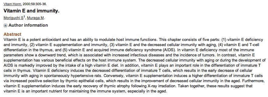 Immune system vit E 10