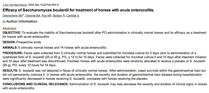 Efficacy of Saccharomyces boulardii for treatment of horses with acute enterocolitis