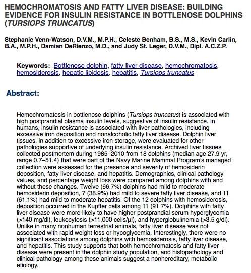 Hematomacrosis in dolphins